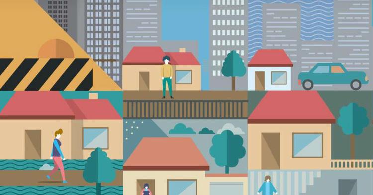 Gráfico de personas frente a sus casas
