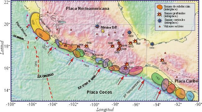 Sismos más importantes en México.  (Fuente: Kostoglodov, V y Pacheco, J.)