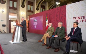 El presidente de México, Andrés Manuel López Obrador, durante la conferencia de hoy desde Palacio Nacional.