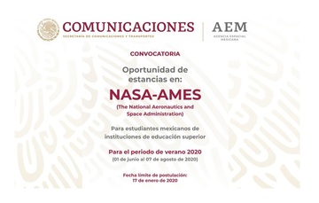 Emite convocatoria AEM para estancias de investigación en la NASA durante el verano 2020