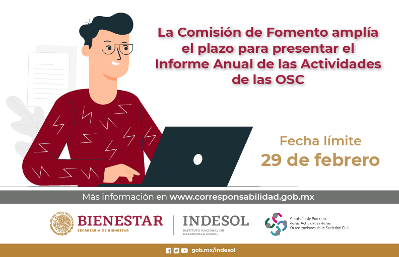 No olvides presentar tu informe anual de las actividades de las OSC 2019 www.corresponsabilidad.gob.mx