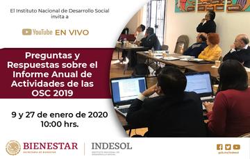 Conversatorio en línea: Preguntas y Respuestas sobre el Informe Anual de Actividades de las OSC 2019
