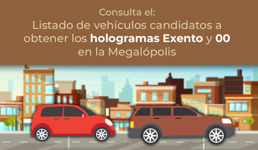 Listado de vehículos candidatos a obtener holograma exento y OO.