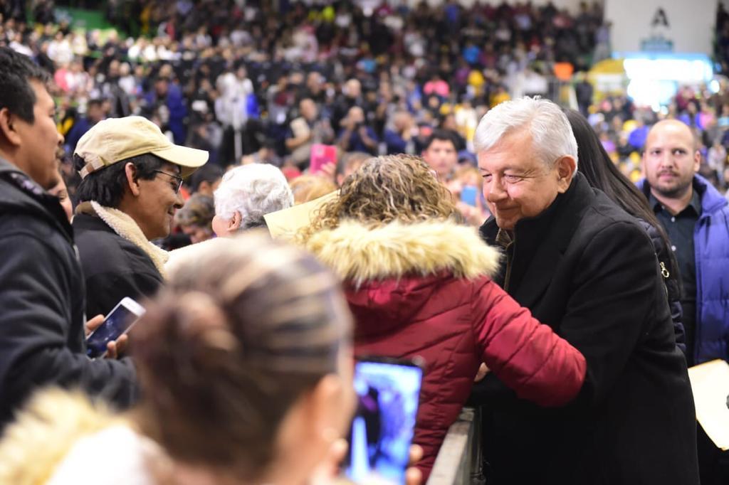 El presidente de México, Andrés Manuel López Obrador, durante la entrega de programas para el Bienestar, Mejoramiento Urbano y Zona Libre de la Frontera Norte, desde Ciudad Juárez, Chihuahua.