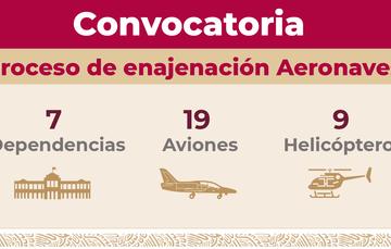 Convocatoria para venta de aeronaves