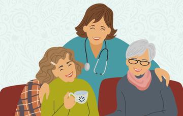 Una enfermera y dos mujeres sonriendo.