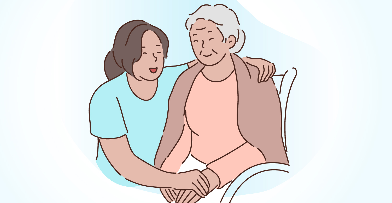 Una mujer cuidadora, y una persona adulta mayor dependiente.