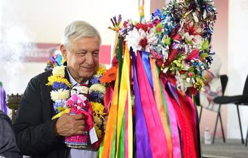 El presidente de México, Andrés Manuel López Obrador, durante el diálogo con el Pueblo Otomí, desde Amealco de Bonfil, Querétaro.