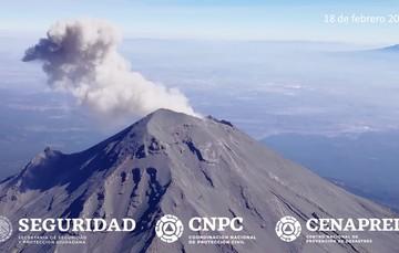Sobrevuelo al volcán Popocatépetl, 18 de febrero de 2020.