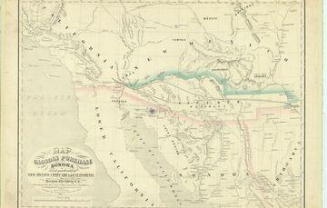 """Para rememorar un año más de la venta de La Mesilla, la Mapoteca Manuel Orozco y Berra presenta el siguiente mapa titulado """"Compra de La Mesilla"""", publicado en el año de 1854 y cuyos autores fueron Herman Ehrenberg y Alex Zakreski."""