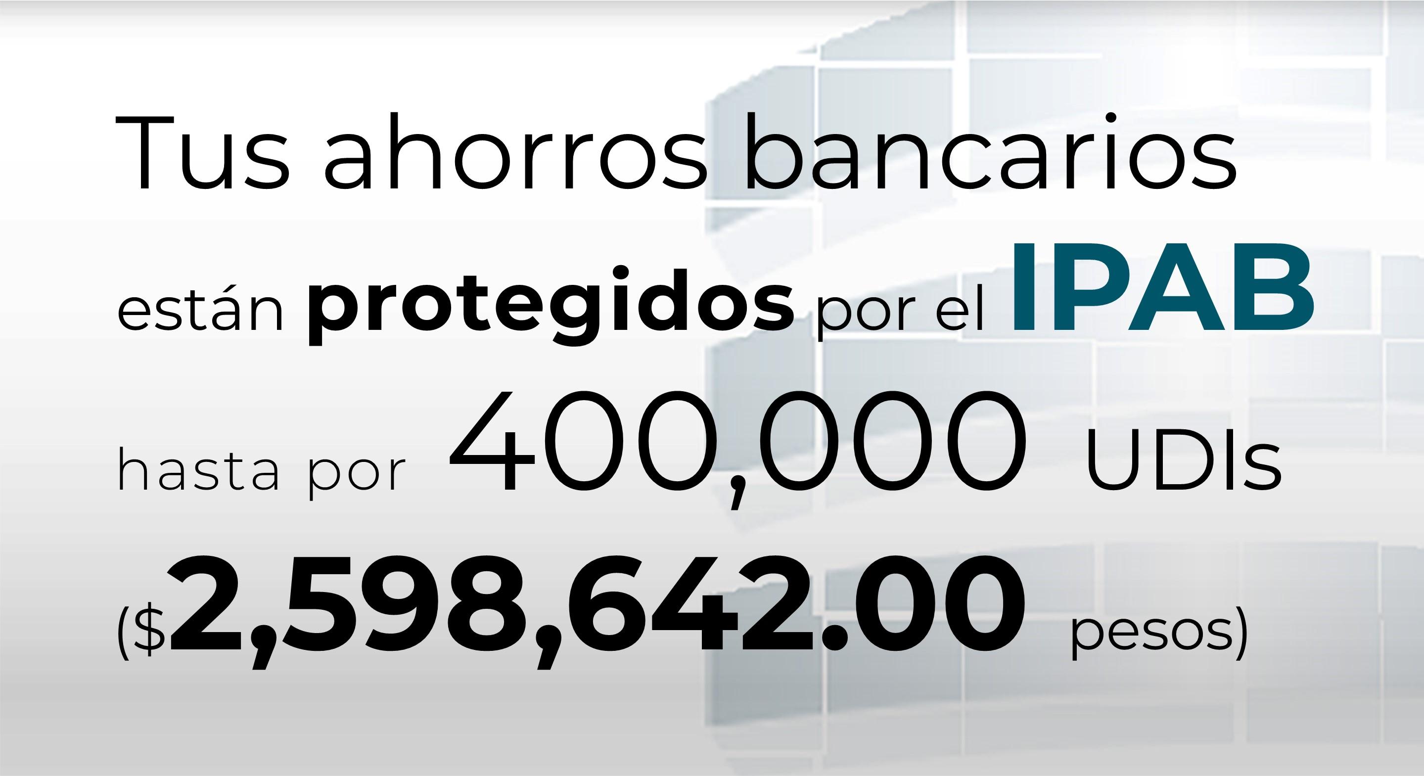 Tus ahorros bancarios están protegidos hasta por 400 mil UDIs al 25 de marzo de 2020.