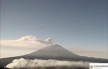 En las últimas 24 horas, mediante los sistemas de monitoreo del volcán Popocatépetl se identificaron 269 exhalaciones, 525 minutos de tremor y una explosión moderada.