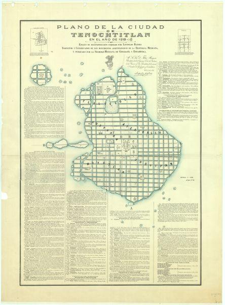 """Para conmemorar un año más de la fundación del Tenochtitlán, la Mapoteca presenta este plano titulado """"Ciudad de Tenochtitlán"""", de 1892."""