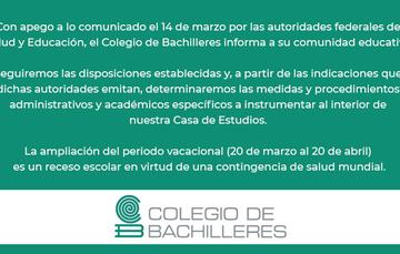 Cartel descriptivo sobre medidas del Colegio de Bachilleres