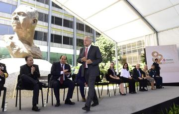 El presidente de México, Andrés Manuel López Obrador, durante el 82 Aniversario de la Expropiación Petrolera.
