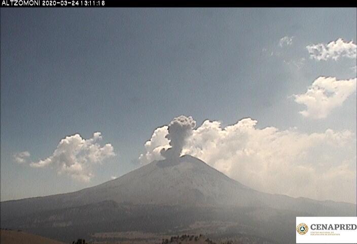 En las últimas 24 horas, mediante el sistema de monitoreo del volcán Popocatépetl se identificaron 95 exhalaciones y 670 minutos de tremor.