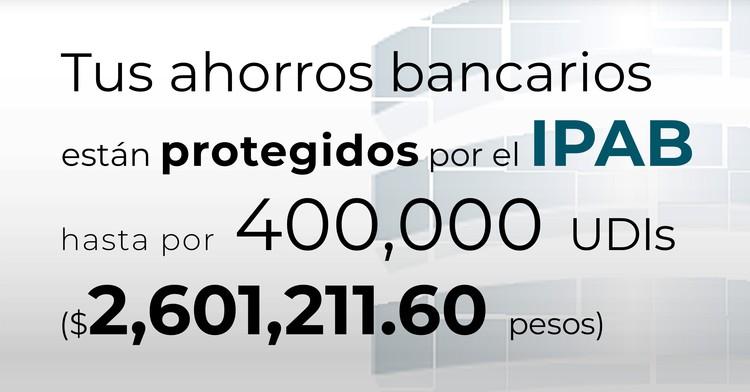 Tus ahorros bancarios están protegidos hasta por 400 mil UDIs al 9 de abril de 2020.