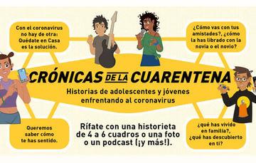 """Tres adolescentes te invitan a participar en """"Crónicas de la Cuarentena""""."""