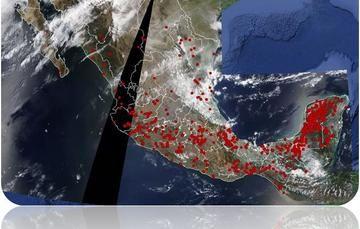 Ejemplo de mapa de puntos de calor emitido por la CONABIO.