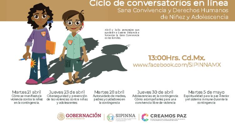 Los personajes Abril y Julio presentan la información del ciclo de Conversatorios en Línea.