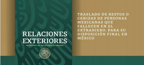 SRE presenta la Guía para el Traslado de Restos o Cenizas de personas mexicanas que fallecen en el extranjero