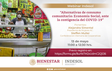 Banner Webinar Indesol: Alternativas de consumo comunitario: Economía Social, ante la contingencia del COVID-19