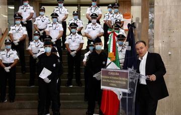 El secretario Alfonso Durazo, en compañía del comisionado Manuel Espino , preside la graduación vía remota de 428 nuevos elementos del Servicio de Protección Federal.