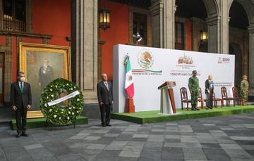 El presidente de México, Andrés Manuel López Obrador, durante el Centenario Luctuoso de Venustiano Carranza.
