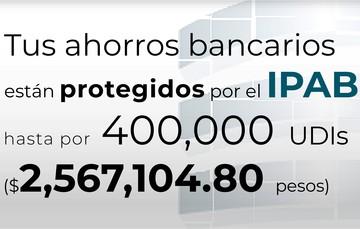 Tus ahorros bancarios están protegidos hasta por 400 mil UDIs al 24 de mayo de 2020.