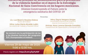 Webinar Indesol Iniciativas juveniles de sensibilización para la prevención de la violencia familiar en el marco de la Estrategia Nacional de Sana Convivencia en los hogares mexicanos.  Viernes 29 de mayo, 11 hrs.