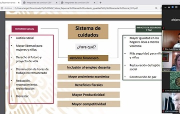 Imagen de transmisión por facebook de la reunión sobre cuidados en la que aparece Nadine Gasman y una diapositiva que habla sobre el tema de cuidados.