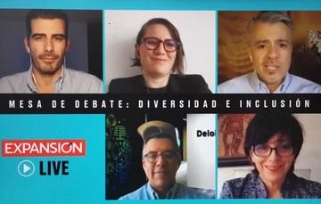 fotos de las y los participantes en la mesa de debate de Expansión