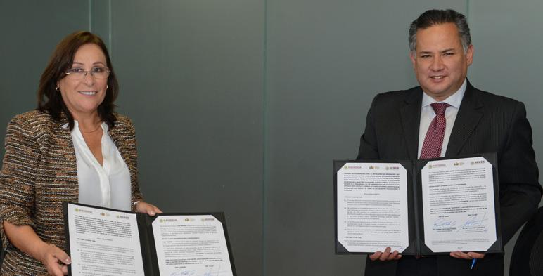 Fotografía de Rocío Nahle y Santiago Nieto titulares de la Secretaría de Energía y la Unidad de Inteligencia Financiera