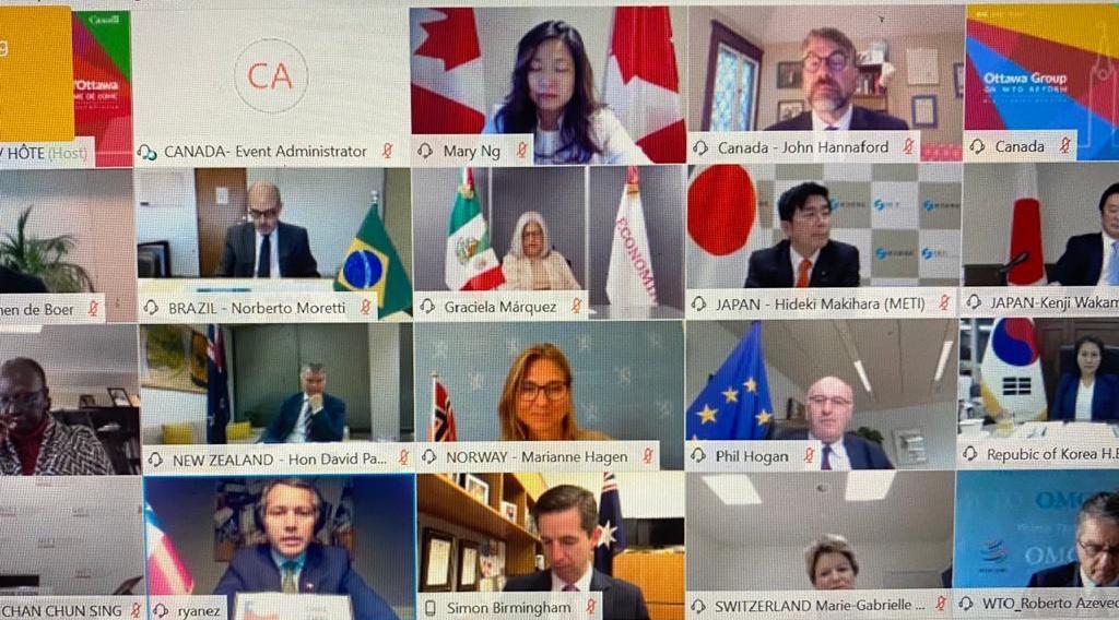 México participó en Reunión Ministerial del Grupo Ottawa a fin de proponer a la OMC un plan de acción para enfrentar pandemia del COVID-19