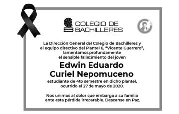 Lamentamos el sensible fallecimiento del joven Edwin Eduardo Curiel Nepomuceno