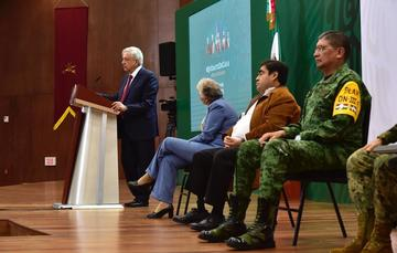 El presidente de México, Andrés Manuel López Obrador, durante la conferencia matutina de hoy desde Puebla, Puebla.