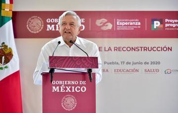 El presidente de México, Andrés Manuel López Obrador, durante el Informe de la Reconstrucción en Puebla.