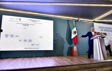 El presidente de México, Andrés Manuel López Obrador, durante la conferencia matutina de hoy desde Hidalgo.