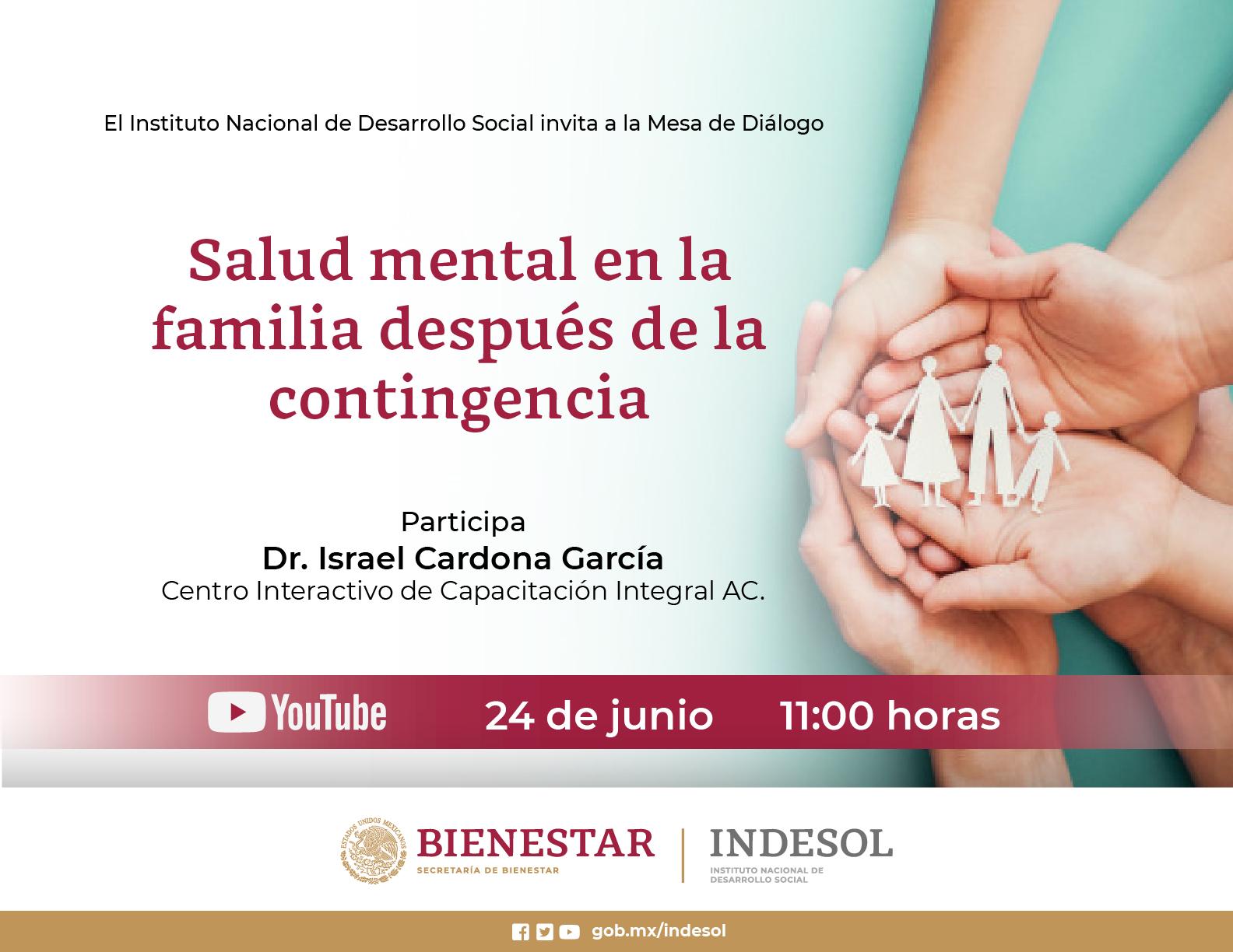 Mesa de Diálogo Indesol: Salud mental en la familia después de la contingencia. 24 de junio, 11am.