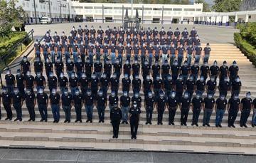 El titular del SPF, Manuel Espino Barrientos encabezó la ceremonia de graduación, a través de una video conferencia en la sede de la institución donde se conectaron vía remota las cuatro academias policíacas.