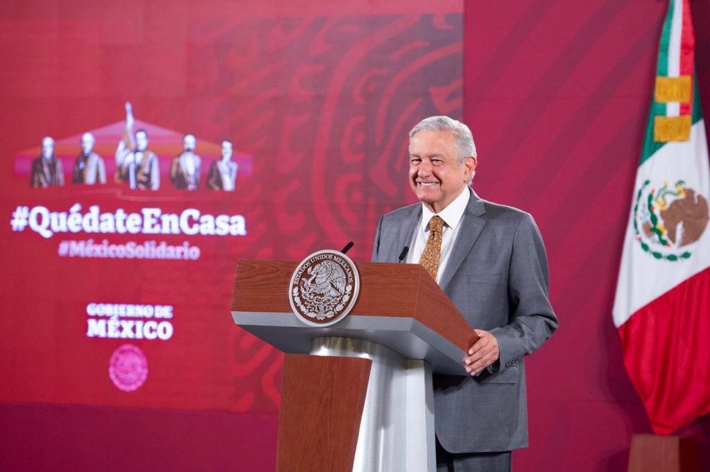 El presidente de México, Andres Manuel Lopez Obrador, durante la conferencia matutina de hoy desde Palacio Nacional.