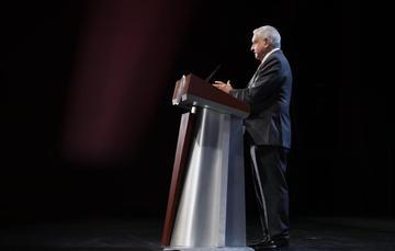 El presidente de México, Andrés Manuel López Obrador, durante la conferencia matutina de hoy desde Estado de México.
