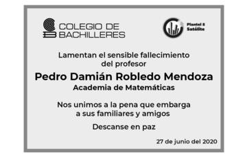 Lamentamos el sensible fallecimiento del profesor Pedro Damián Robledo Mendoza