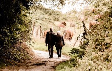 Mujer y hombre mayor tomándose del brazo.