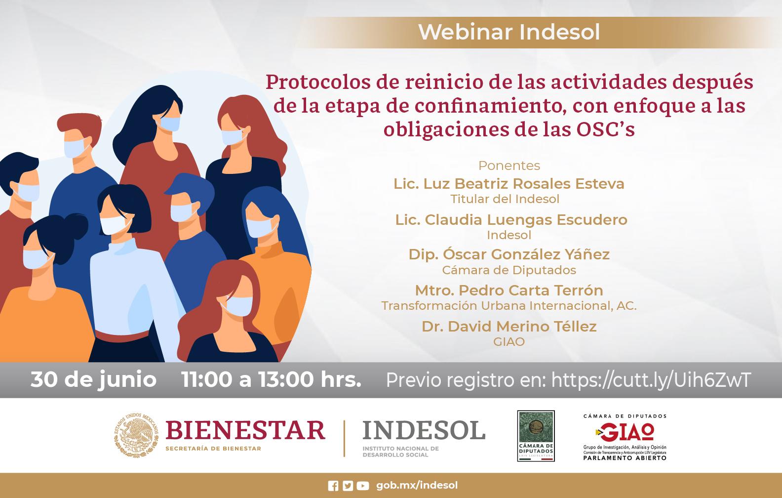 Webinar Indesol Protocolos de reinicio de las actividades después de la etapa de confinamiento, con enfoque a las obligaciones de las OSC's