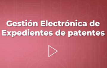"""mensaje en color guinda """"gestión electrónica de patentes"""""""
