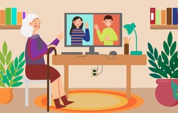 Abuelita conectada por internet.