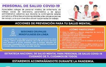 Acciones de prevención para tu Salud Mental para el personal de Salud.