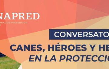 """Imagen del conversatorio """"Canes, héroes y heroínas en la protección civil."""