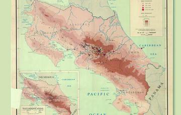 """Para conmemorar esta fecha, la Mapoteca presenta el mapa: """"Distribución de la población en Costa Rica"""", elaborado en 1946."""